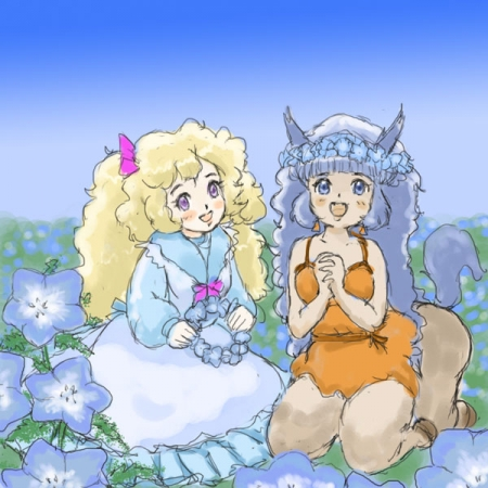 ネモフィラ花畑の二人