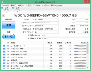 WD40EFRXをCrystalDiskInfoで表示