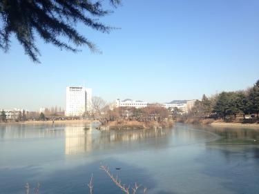 冬の建国大学 湖が凍っていました^^