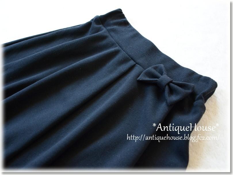 ニットフレアースカート*ウエストリボン