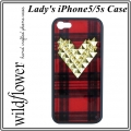 Tartan Gold Studded Heart iPhone 5 5s Case (1)