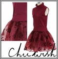 Ce La Vie Twinset Organza Skater Dress in Wine (1)1
