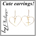 E631 Heart with cross in the middle gold filled earrings (2)1
