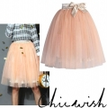Amore Tulle Midi Skirt in Ice Orange11111