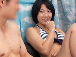 MM号で初対面の男のチンコを受け入れる水着美女【マジックミラー号】