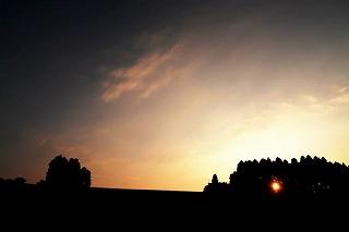 丘の夢牧場の夕陽