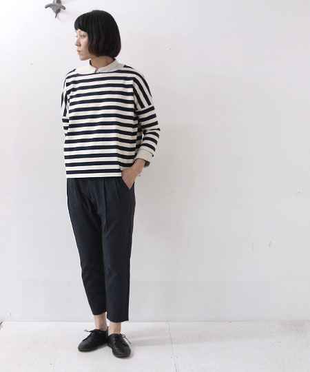 evameva (エヴァムエヴァ) Cotton tuck pants