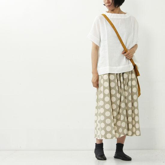 FACTORY(ファクトリー) 大ドット柄 オーガニックコットンギャザースカート