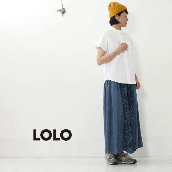 LOLO(ロロ) オックスシャンブレー 丸襟比翼あき半袖