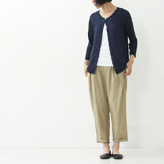 mao made(マオメイド) リネンクルーネックカーディガン