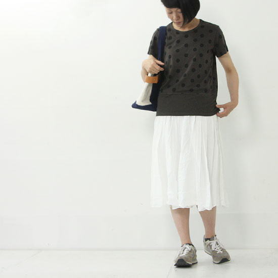 MidiUmi(ミディウミ) コットンリネンギャザースカート