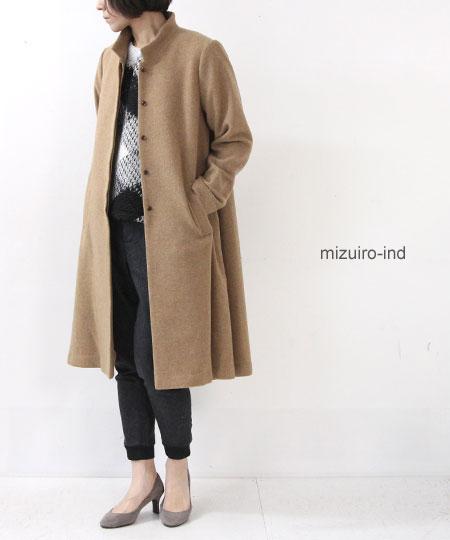 mizuiro ind (ミズイロインド) ステンカラーフレアコート