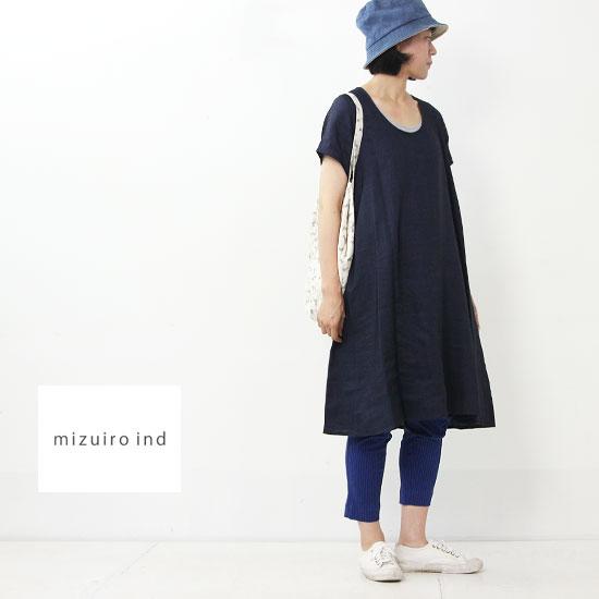 mizuiro ind (ミズイロインド) ハーフスリーブAラインワンピース