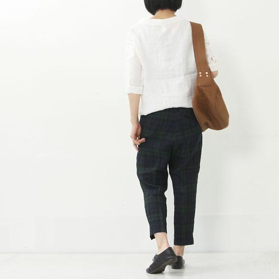 style + confort(スティールエコンフォール) リネンチェックテーパードパンツ