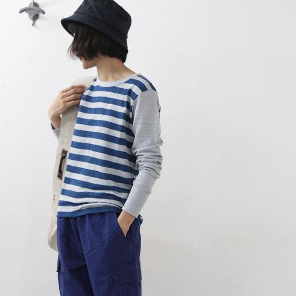 Vlas blomme (ブラスブラム) 天竺ボーダー×無地長袖Tシャツ