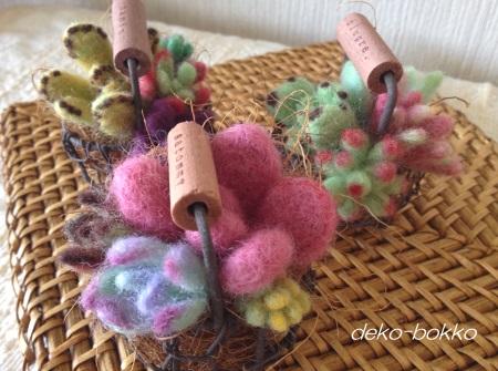 羊毛フェルト 多肉カゴ 201504-2