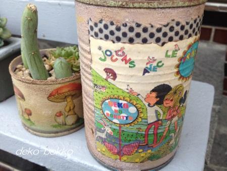 ロハス記念缶とキノコ缶 MARRYリメ缶 201506