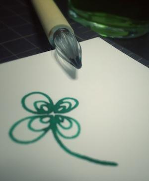 竹軸ガラスペンかきかきグリーン
