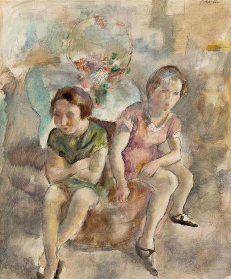 二人の座る少女 1925 パリ近代 16cm