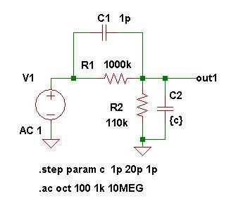 アッテネータ周波数補正シミュレーション