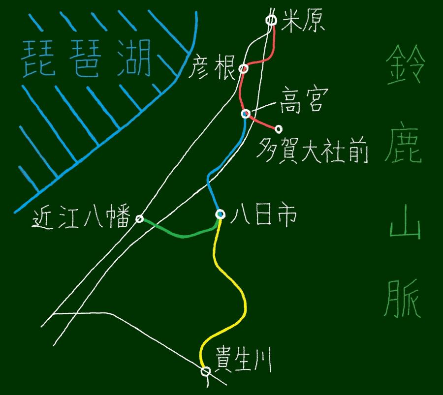 近江鉄道簡易路線図
