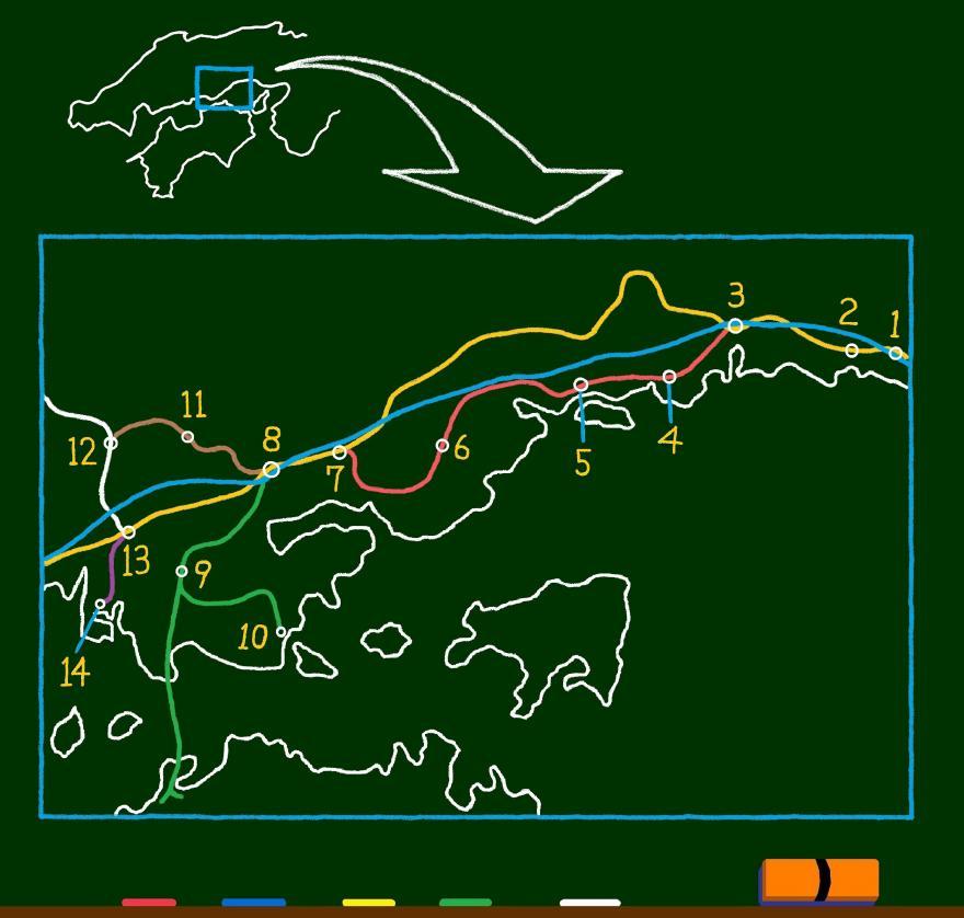 岡山県旅行の路線図