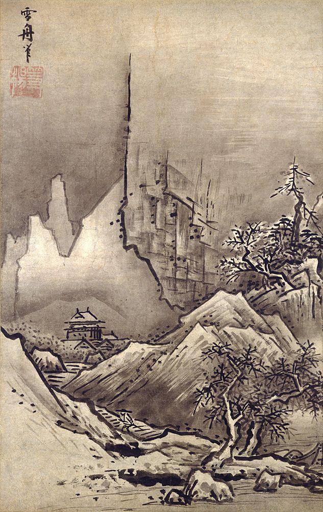 雪舟「秋冬山水図」冬図