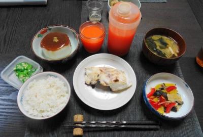 鯛の粕漬けと風呂吹き大根の夕食