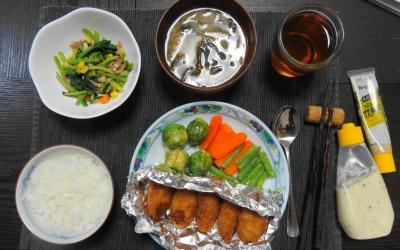 芽キャベツと牡蠣フライの ポカポカご飯