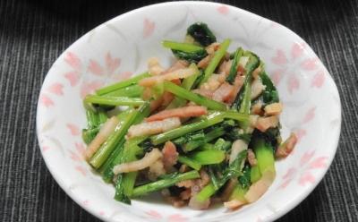 ベーコンと小松菜の炒め