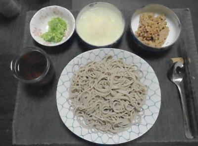 納豆蕎麦のセッティング