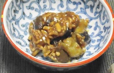 茄子の肉味噌炒め