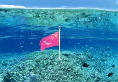 尖閣 中国国旗