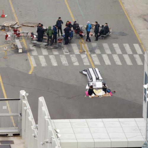 韓国労組 遺体 死体 座り込み