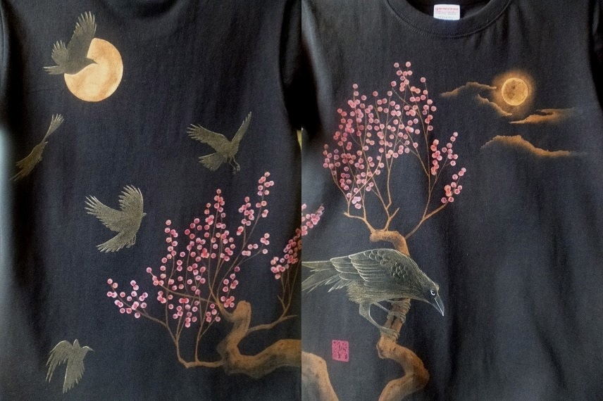手描きTシャツ 八咫烏と梅
