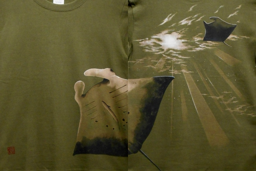 手描きTシャツ マンタ