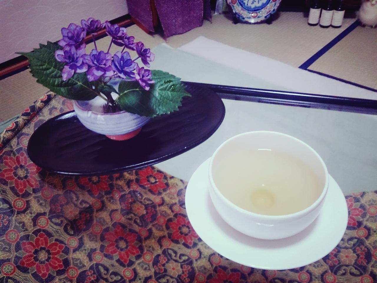 紫陽花とお茶
