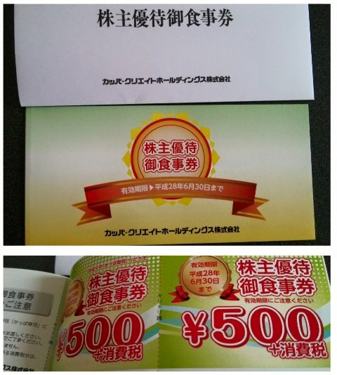 平成27年6月22日株主かっぱ