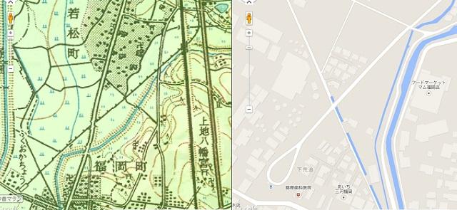 左 福岡町駅が記されている地図 右 現在はバス転回場