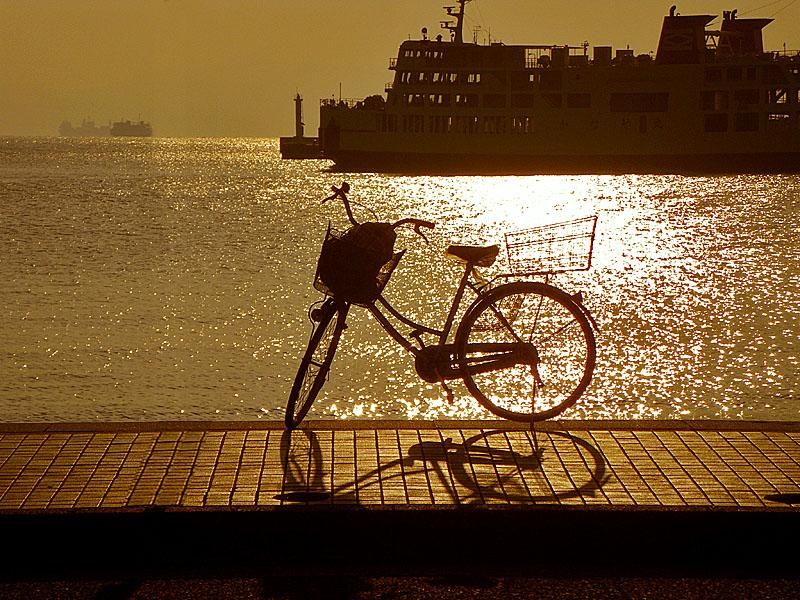 100131朝陽と東京湾フェリーと自転車