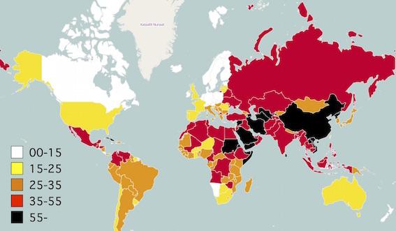 世界報道自由ランキング地図