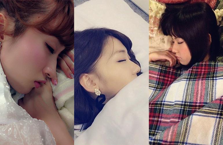 AKBメンバーの寝顔がカワイくて何気にえろい