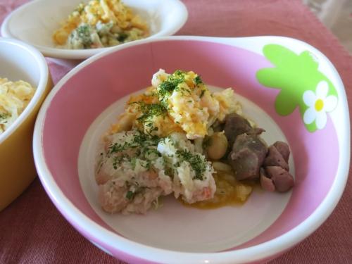 朝ご飯 砂肝とポテト&卵サラダ