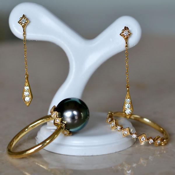 南洋黒真珠ダイアモンドリング