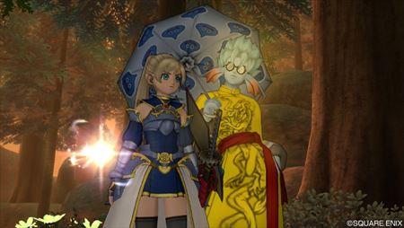 勇者姫のよろい青とスライム柄の傘_R