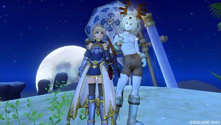 勇者姫のよろい青とスライム柄の傘と青トナカイ_R