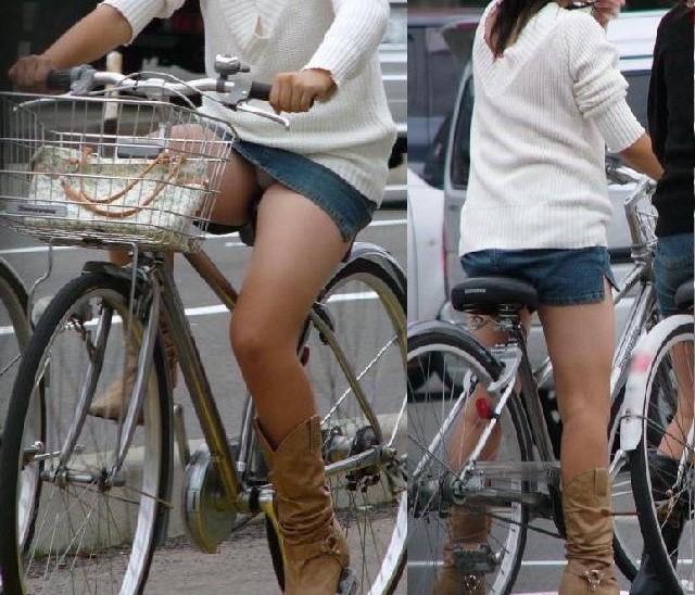 自転車パンチラ脚5
