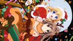 169_304555 amagi_brilliant_park animal_ears christmas cleavage dress horns latifah_fleuranza sento_isuzu thighhighs