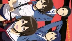 169_305620 buruma durarara!! gym_uniform kuronuma_aoba megane orihara_kururi orihara_mairu ryuugamine_mikado seifuku takata_akira