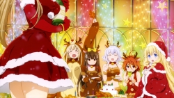 169_307167 animal_ears calendar christmas cleavage dress horns kanie_seiya kobori macaron moffle pantyhose salama sento_isuzu sylphy tiramie uniform